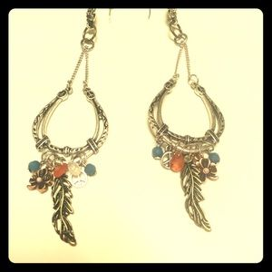 Boho Long Silver Earrings one of a kind Handmade